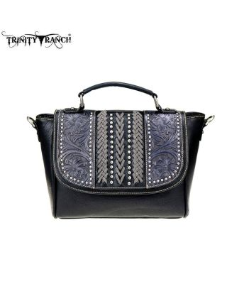 TR70-8262 BK Trinity Ranch Tooled Leather Collection Satchel/Crossbody