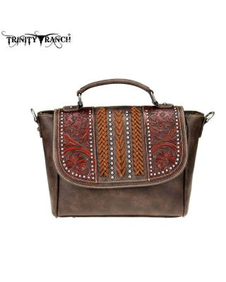 TR70-8262 CF Trinity Ranch Tooled Leather Collection Satchel/Crossbody