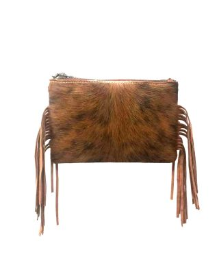 RLH-014 BR MONTANA WEST HAIR-ON LEATHER CLUTCH