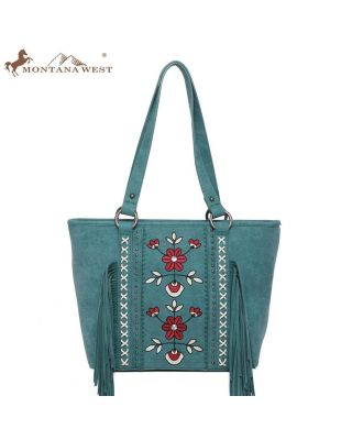 WG01-8317 TQ Embroidered Floral Fringe Concealed Carry Tote(Wrangler by Montana West)