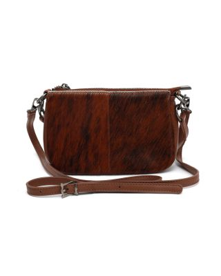 MWL-025 BR Montana West 100% Genuine Leather Calf Hair Clutch/Crossbody