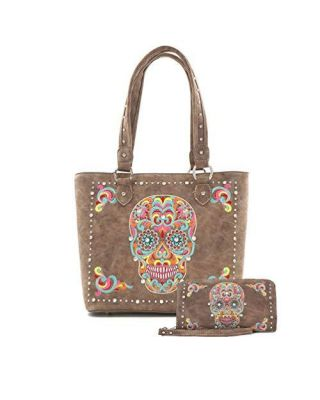 ABZ-G012W CF American Bling Embroidered Sugar Skull Tote and Wallet Set