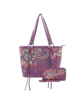 ABZ-G016 PP American Bling Floral Embroidered Tote and Wallet Set-