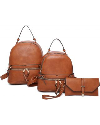 LF21130-T3 BR 2PC BACKPACK WITH WALLET