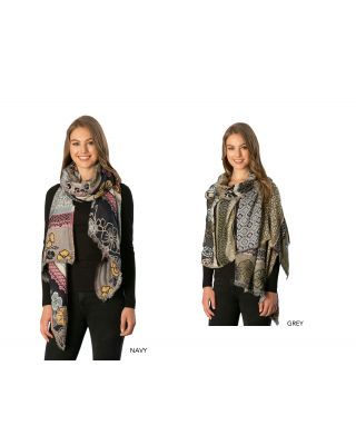 CS7235/GRY FLOWER&COLOR BLOCK OBLONG SCARF