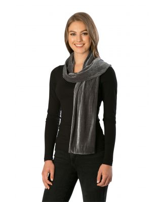 CS7248 SOLID VELVET PLEATED SCARF, GREY