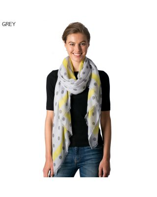 CS8329 POLKA DOT SCARF, GREY