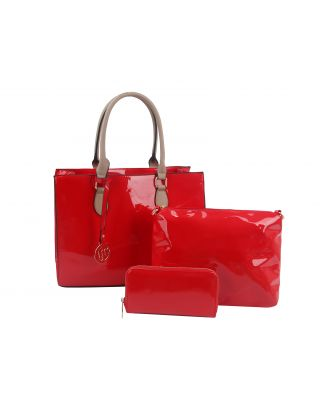 F-0200-RD FASHION PATERN LEATHER 3 IN 1