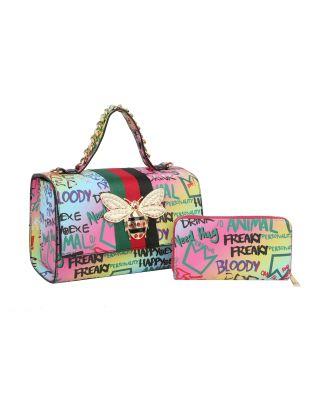 HGSF-0105W MT2 Graffiti Queen Bee Stripe 2-in-1 Boxy Satchel