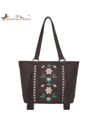 WG01-8317 CF Embroidered Floral Fringe Concealed Carry Tote(Wrangler by Montana West)