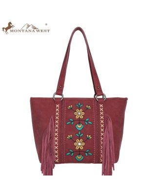 WG01 -8317  RD Embroidered Floral Fringe Concealed Carry Tote(Wrangler by Montana West)