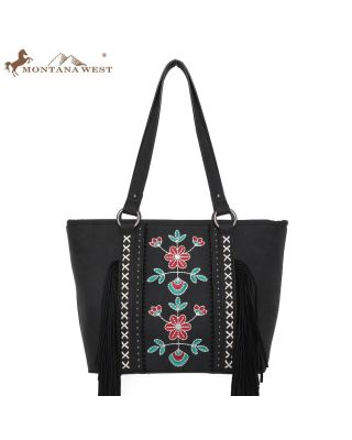 WG-018317  BK Embroidered Floral Fringe Concealed Carry Tote(Wrangler by Montana West)