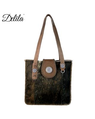 LEA-6033 CF Delila 100% Genuine Leather Hair-On Hide Collection Tote
