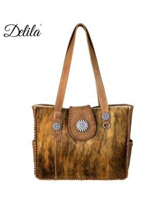 LEA-6034 BR Delila 100% Genuine Leather Hair-On Hide Collection Wide Tote
