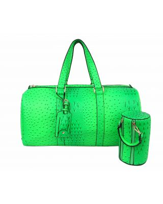 LF128-NG Ostrich Croc 2-in-1 Duffle & Makeup Pouch Set