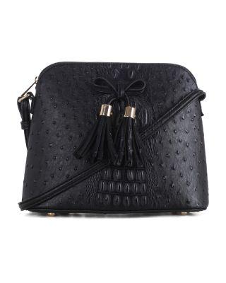 LF5009N 1N BK Ostrich Croc Tassel Zip Dome Crossbody Bag Satchel