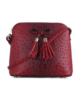 LF5009N 1N RD Ostrich Croc Tassel Zip Dome Crossbody Bag Satchel