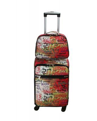 LGOT01-G MT2 Fashion Faux Leather GRAFFITI 2 Piece Luggage