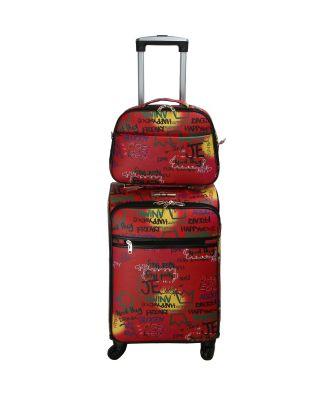 LGOT01-G MT4 Fashion Faux Leather GRAFFITI 2 Piece Luggage
