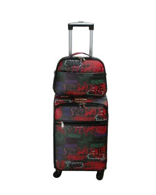 LGOT01-G MT5 Fashion Faux Leather GRAFFITI 2 Piece Luggage