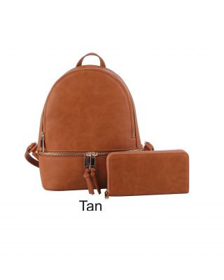 LP1062W TAN  FASHIONBACKPACK WITH WALLAET
