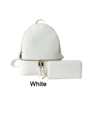 LP1062W WHITE  FASHIONBACKPACK WITH WALLAET