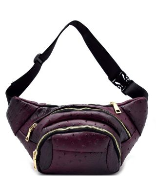 LY102-O-BD Animal Textured Multi Zipper Pocket Fashion Fanny Pack