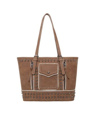 MW1013G-8317 BR Montana West Studded Collection Concealed Carry Tote