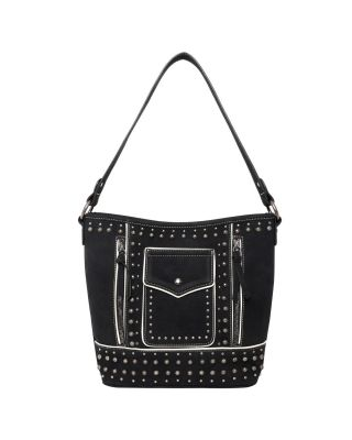 MW1013G-918 BK Montana West Studded Collection Concealed Carry Hobo
