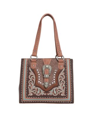 MW1015G-8317 BK Montana West Buckle Collection Concealed Carry Western Tote -