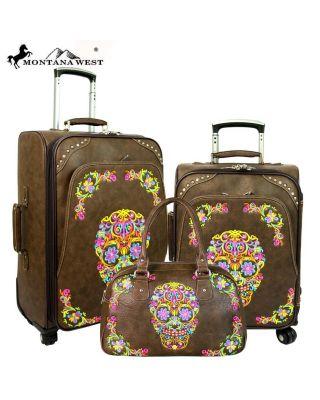 MW326-L1/2//3 CF Sugar Skull Collection 3 PC Luggage Set
