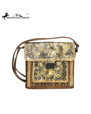 MW773-8360 BR Montana West Tooled Collection Crossbody