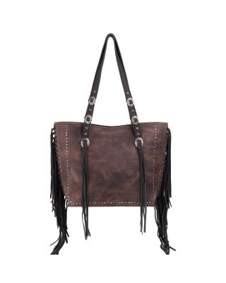 MWL-G021 BK Montana West Real Leather Fringe Collection Safety Travel Tote