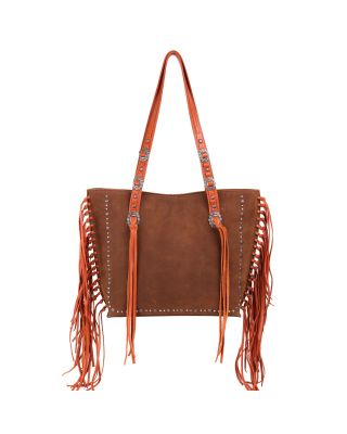 MWL-G021 BR/CF Montana West Real Leather Fringe Collection Safety Travel Tote