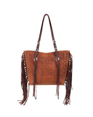 MWL-G021 CF/BR Montana West Real Leather Fringe Collection Safety Travel Tote