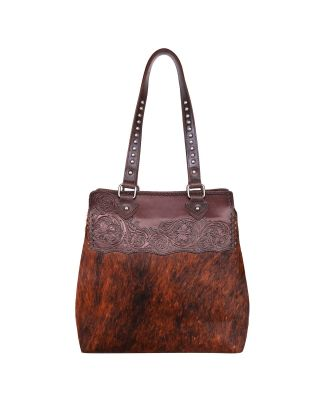 MWL-028 CF Genuine Leather Hair-On Cowhide Collection Tote Bag