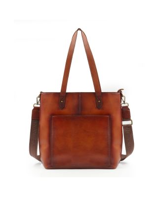 MWL-G015 BR Montana West Real Leather Safety Travel Tote/Crossbody