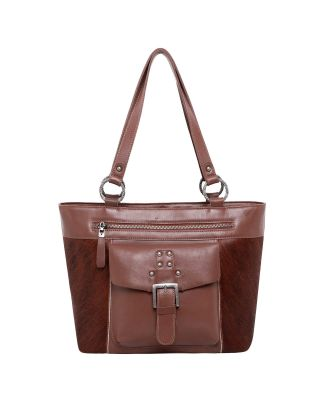 MWRG-8317 BR Real Leather Hair-On Cowhide Collection Tote