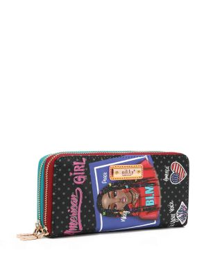 NK23076 NIKKY PU DOUBLE ZIP AROUND WALLET