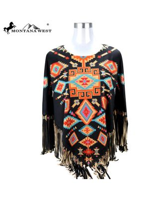 PCH-1675 BK MONTANA WEST AZTEC COLLECTION PONCHO