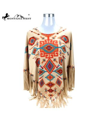 PCH-1675 TN MONTANA WEST AZTEC COLLECTION PONCHO