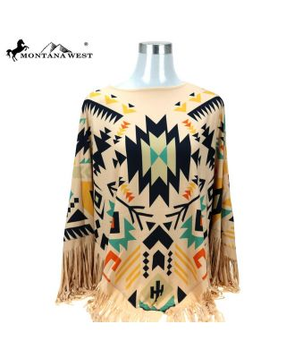 PCH-1686 TN MONTANA WEST AZTEC COLLECTION PONCHO
