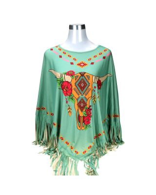 PCH-1699 Montana West Steer Skull Collection Poncho