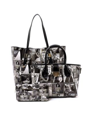 PQ008-1W-BKWT Fashion Patent Leather Magazine 3 in 1 Classic Tote