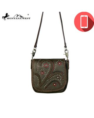 RLC-L095P Montana West Phone Charging Real Leather Crossbody