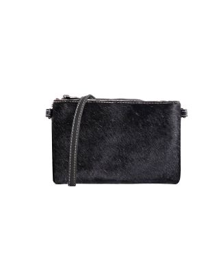 RLH-002 BK MONTANA WEST HAIR-ON LEATHER CLUTCH