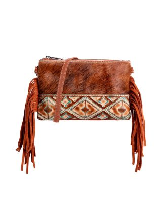 RLH-025 BR MONTANA WEST HAIR-ON LEATHER CLUTCH