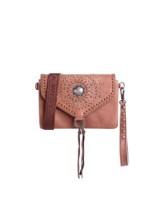 RLL-013 CF Montana West 100% Genuine Leather Concho Collection Crossbody/Wristlet