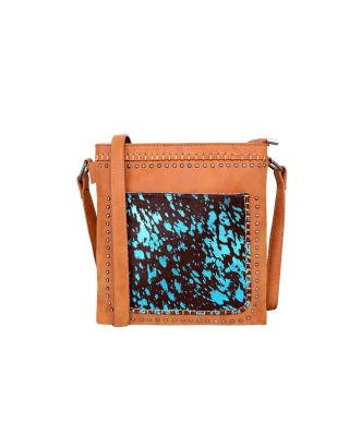TR119G-9360 BR Trinity Ranch Hair-On Leather Collection Concealed Carry Crossbody Bag