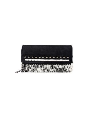 TR120-W010 BK Hair-On Studded Collection Secretary Style Wallet